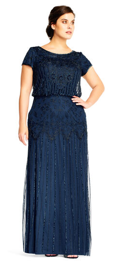 1920s Style Dresses, Flapper Dresses Short Sleeve Blouson Beaded Gown $219.00 AT vintagedancer.com