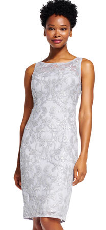 Sleeveless  Metallic Lace Sheath Dress