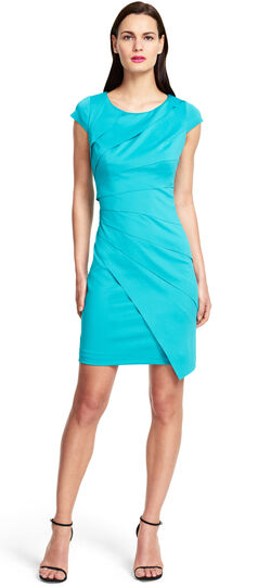 Asymmetrical Tiered Banded Scuba Dress