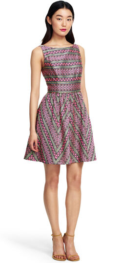 Sleeveless Striped Jacquard Party Dress with Beading Details