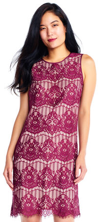 Sleeveless Lace Shift Dress with Scalloped Hem