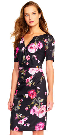 Rose Print Draped Sheath Dress with Short Sleeves