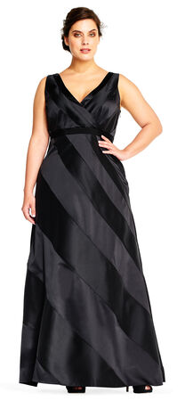 Striped Evening Gown with V Neckline