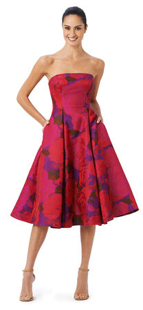 Floral Midi Jacquard Fit and Flare Dress