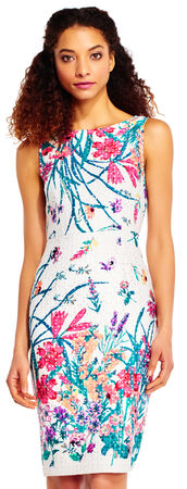 Botanical Flower Lace Sheath Dress with Exposed Zip Back
