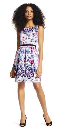 Sleeveless Floral Fit and Flare Dress with Pleated Skirt