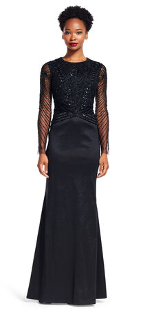 Long Sleeve Beaded Memaid Gown