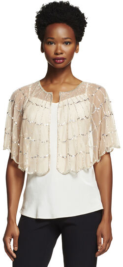 Beaded Tulle Capelet Coverup