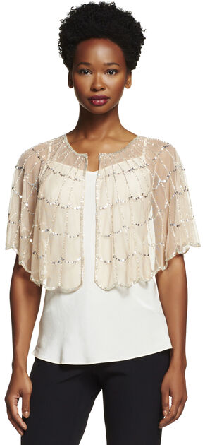 Beaded Tulle Capelet Coverup $105.00 AT vintagedancer.com