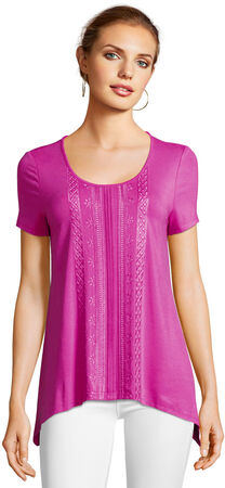 Short Sleeve Embroidered Top with Asymmetrical Hem