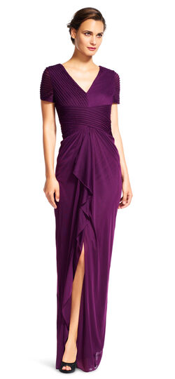 Short Sleeve Draped Gown with Ruched Bodice