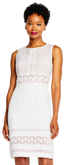 Sleeveless Sheath Dress with Crochet Lace Details