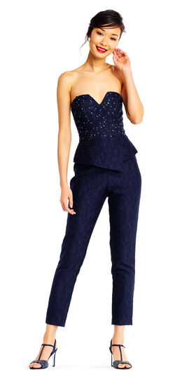Strapless Beaded Cropped Jumpsuit with Peplum Waist