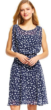 Polka Dot Blouson Fit and Flare Dress
