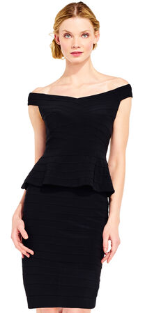 Off The Shoulder Banded Peplum Dress