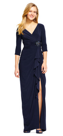 Ruffle Draped Sleeve Dress with Waist Embellishment
