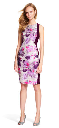 Floral Colorblock Sheath Dress with Sequin Beading