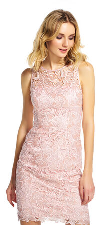 Sleeveless Lace Sheath Dress with Illusion Neckline