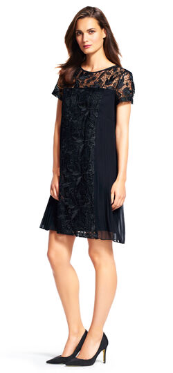 Short Sleeve Pleated Shift Dress with Lace Accents