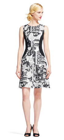 Art Paisley Fit and Flare Dress with Colorblock Details