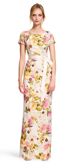 Short Sleeve Floral Gown with Tie Sash