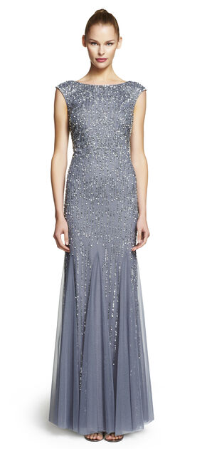 Cap Sleeve Beaded Mermaid Gown $349.00 AT vintagedancer.com