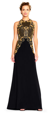 Halter Mermaid Gown with Filigree Sequin Embroidered Bodice