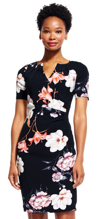 Floral Print Sheath Dress with Pleated Neck