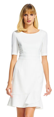 Short Sleeve Sheath Dress with Flounce Skirt