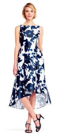 High Low Iridescent Floral Midi Dress with V-Back