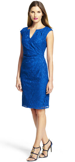 Pleated Side Drape Lace Sheath Dress