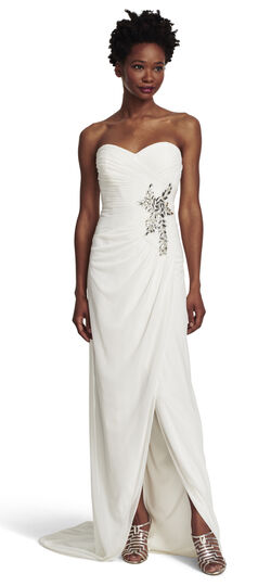 Embellished Shirred Tulle Strapless Gown