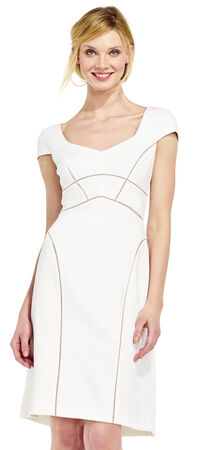 Cap Sleeve A-Line Dress with Sheer Inset Design