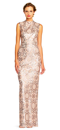 Sequin Geometric Applique Column Gown with Mock Neck