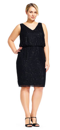 Sleeveless Beaded Blouson Cocktail Dress with V-Neck