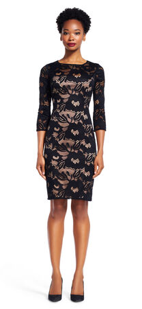 Carol Lace Sheath Dress with Nude Lining