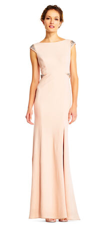Cap Sleeve Mermaid Gown with Beaded Embellishments