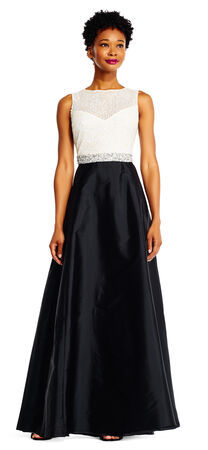 Two Tone Beaded Ball Gown with Sheer Neckline