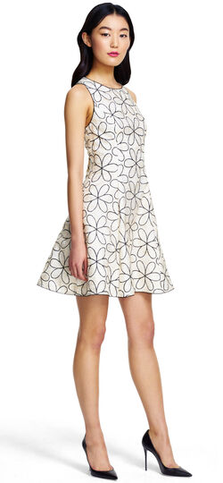 Halter Mod Floral Embroidery Dress with Lace Trim