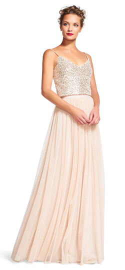 Sequin Tank Top Dress Set with Tulle Skirt