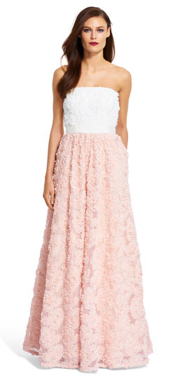 Strapless Tulle and Chiffon Petal Ball Gown