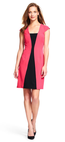 Colorblock Sheath Dress with Cap Sleeves