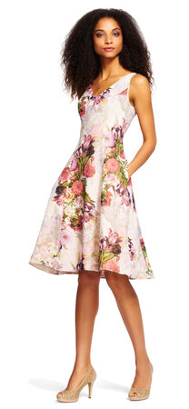 Sleeveless Pleated Floral Dress