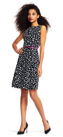 Polka Dot Fit and Flare Dress with Belt