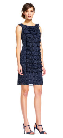 Polka Dot Shift Dress with Ruffle Front
