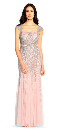 Cap Sleeve Beaded Gown with Envelope Back