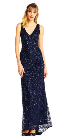 Sleeveless Sequin Beaded Gown with V-Neck and V-Back