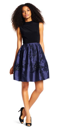 Sleeveless Mock Neck Dress with Floral Beaded Taffeta Skirt