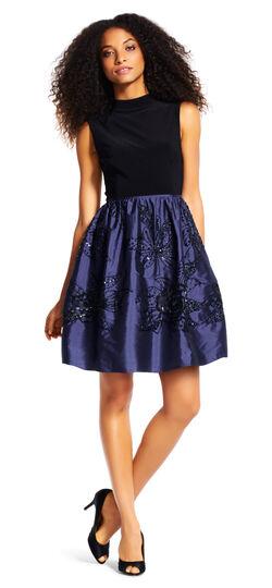 Sleeveless Mock Neck Dress with Floral Beaded Taffeta Skirt