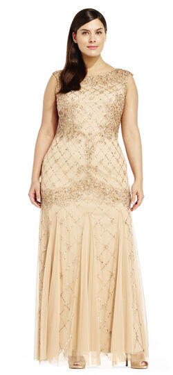 1920s Cocktail Party Dresses, Evening Gowns Fully Beaded Sleeveless Godet Gown $359.00 AT vintagedancer.com